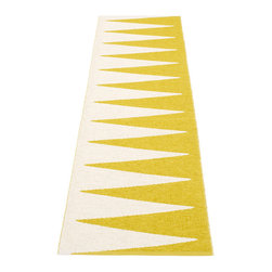 Pappelina - Pappelina Vivi Plastic Runner, Mustard, 2' x 5' - This  rug from Pappelina, Sweden, uses PVC-plastic and polyester-warp to give it ultimate durability and clean-ability. Great for decks, bathrooms, kitchens and kid's rooms.