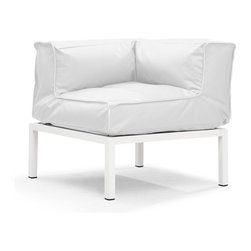 Zuo Modern - Zuo Modern Copacabana Outdoor Corner Sofa / Chair X-218107 - The Copacabana collection is designed for funky versatility. This set has modular pieces of an armless chair, a corner armchair, an ottoman, and a table. The cover is made from a completely waterproof and UV resistant polyester fiber. The frame is made from an epoxy coated aluminum. The fill is 100% pure polystyrene beads. All the cushions can be attached via durable oversize zipper. Have fun with the cushions and throw them in the pool...they will float!