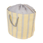 Enchante Accessories Inc - Raymond Waites Drawstring Sealable Laundry Tote with Rope Handle, Yellow, Large - Printed cotton laundry toteSturdy rope handles for easy lifting and carrying Contrast drawstring liner with a cinch top closureLarge measures 20ヤ x 18ヤSmall measures 16 in. x 13.50 in. While doing laundry may never become your favorite household chore, the Printed Laundry Tote by Raymond Waites can make that never-ending task a bit more stylish.  Doing double duty as a catchall to hold dirty clothing and a portable tote that makes it easy to carry dirty gear to the laundry room, this printed tote has a casual look and a stylish design that makes laundry day a little more enjoyable.  Made from durable, textured cotton fabric and detailed with on trend prints, this laundry tote features sturdy rope handles for easy carrying and a solid contrast lining that closes with a drawstring at the top to conceal and contain the items inside.  The cinch top closure lets you overstuff the bag and travel to your laundry room without having to worry about your clothing spilling out.   Available in small and large sizes, this laundry tote is perfect for use in any bedroom, dorm room, or childメs nursery where you donメt have the space for an oversized laundry basket.  Cute enough that you wonメt even mind carrying it out of the house, this laundry tote is perfect for the woman who demands modern style in all aspects of life.   Choose from a variety of pastel and muted Ikat prints, multicolored stripes, and geometric patterns to suit your personal style or coordinate with other patterns and prints around the house.  With durable rope handles that are dyed to match the print, this bag can be toted by hand, carried in the crook of your arm, or used as a stylish storage bin.  For use as bedroom or office storage, combine the small and large totes to create a matching set or mix and match different patterns in different sizes to create a unique look.  Perfect for holding folded sheet