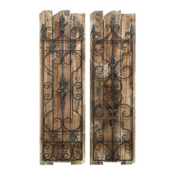 """Benzara - Enchanting Wooded Gate Wall Plaque - Enchanting wall plaques that look great both inside or outside. Designed with a unique scrolling ironwork that looks truly enchanting, these wooded gate style plaques can create the perfect magical feeling for your decor. The plaques are best hung in the backyard garden or patio, but they also look great along the hallway or along the staircase.; Made of wood and metal; Sizes: 14""""x1""""x48"""""""