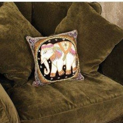 Oriental Furniture - Burmese Elephant Pillow - This charming, handmade pillow depicts a royal white elephant, a traditional symbol of prosperity and nobility in Southeast Asia. A wonderful, cosmopolitan way to add a colorful accent to a seat or sofa, this Burmese pillow will find a place in any home.
