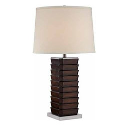 Lite Source - Lite Source Lodovico 100W Incand. Transitional Table Lamp XSL-45222 - The Lodovico table lamp features a distinctive stack of slat design in dark walnut finish. Polished steel metal base and hardback linen shade add personality to your contemporary or transitional home furnishings.