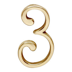 """Renovators Supply - House Numbers 3"""" H Bright Brass # 3 Pin-Mount House Number - House Number. Petite door and house numbers in solid brass measure 3 in. high. RSF finish protects 20 to 40 times longer than standard lacquers.  No screws required as each number has back pins. Simply make holes onto which the number will be placed and secure with glue or epoxy as needed."""