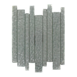 """GlassTileStore - Terrene Snow Cap Planks Glass Tile - TERRENE SNOW CAP PLANKS GLASS TILE  This striking glass can make any room atheistically appealing. The wavy finish brings a distinctive design and will add a nice touch for a contemporary and modern room. This tile is great to use for the bathroom, kitchen or pool installation.      Chip Size: Random   Material: Glass   Color: Platinum    Finish:  Polish   Sold by the Sheet - each sheet measures 10 3/4"""" x 11 3/4"""" (0.88 sq. ft.)             - Glass Tiles -"""