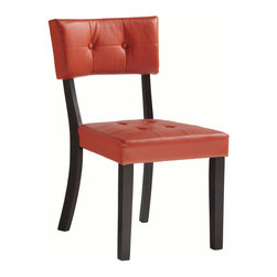 Powell - Powell Prism Red Faux Leather Side Chair (Pack of 2) X-834-893 - Brighten your dining space by adding a pop of color to your dining table with the Prism Red PU Side Chair. Its simple squared design is accented with tufted accents on the plush seat and chair back. Straight sturdy legs have a dark finish that helps the bright upholstery shine. Perfect for a modern or contemporary home. Some Assembly Required.