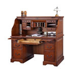 Winners Only - Country Roll Top Desk - Six drawers. Two pull out shelf. One keyboard drawer. Cherry finish. No assembly required. 57 in. W x 29 in. D x 53 in. H