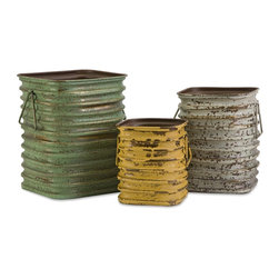 iMax - iMax Lestano Metal Containers - Set of 3 X-3-74474 - With a multi-purpose design, this set of three metal containers feature aged finishes and add function to any decor!