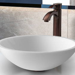 Vigo Industries - Flat Edged Phoenix Stone Glass Vessel Sink wi - Includes solid brass pop-up drain and solid brass mounting ring, all mounting hardware and hot/cold waterlines. Vessel faucet features a single lever curved spout. Vessel sink is scratch and stain resistant . Surface prevents discoloration and fading. Resist corrosion and tarnishing. 1.74 in. standard drain opening. 1.5 GPM flow rate. Easy single-hole faucet installation. Standard 1.37 Dia. opening is required for this faucet. High-quality ceramic disc cartridge ensures maintenance-free use. Easy-to-clean surface. Standard US plumbing 0.37 in. connections. Non-porous surface prevents discoloration and fading. Easy installation. Warranty: Lifetime limited. Made from glass, phoenix stone and brass. White and oil rubbed bronze finish. Sink thickness: 0.62 in.. Faucet height: 12.25 in.. Spout height: 9 in.. Spout reach: 6.37 in.. Sink: 16.5 in. Dia. x 5.5 in. H. Assembly instructions - Sink. Assembly instructions - FaucetThe VIGO Flat Edged White Phoenix Stone Glass Vessel Sink with Oil Rubbed Bronze Faucet will bring to your home a new kind of traditional design. This VG07041 white vessel bowl with sleek flat edge combines the durability and natural aesthetics of granite, marble, ceramic and glass. Water pressure tested for industry standard. This VIGO vessel bowl and faucet set is cUPC and NSF-61 certified by IAPMO.