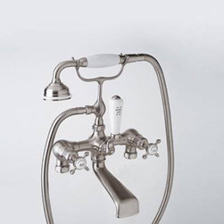 Rohl  Perrin Rowe Exposed Mixer Clawfoot Tub and Shower Faucet - This clawfoot tub mixer comes in both a wall mount option and a floor/deck mount option, and multiple finishes. It's perfect if you're looking for that vintage look  - fixtures like make a room,