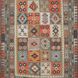 """ALRUG - Handmade Beige/Brown Oriental Kilim  5' 8"""" x 8' 5"""" (ft) - This Afghan Kilim design rug is hand-knotted with Wool on Cotton."""