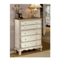 Hillsdale - Five-Drawer Chest With Antique White Finish - * For residential use. A blend of cottage styling with country accented details. Antique White with Antique Pine Top. 42 in. W x 20 in. D x 53.125 in. H