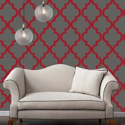 Tempaper - Tempaper: Marrakesh Removable Wallpaper Ruby Slate - Sold as 1 double roll of 20.5 in. x 11 yds. = 56.37 ft. Zee repeat is 3.5 in. Tempaper is self-adhesive, peel-and-stick, temporary wallpaper that eliminates the need for paste or water. Simply remove its backing and adhere to a smooth, primed and painted surface. Just peel off to remove. It is fun and high-impact decorating for those who do not want to make a long-term commitment to a permanent design or renters who can't! It is recommended that you apply Tempaper to surfaces that have been painted with an eggshell or satin finish. Applications on matte or flat paints are not recommended.