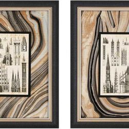 Paragon Decor - Architecture I Set of 2 Artwork - Exclusive Giclee with Patterned Glass