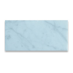 "Stone Center Corp - Carrara White Marble Subway Tile 3x6 Polished Italian Bianco Carrera - 200sq.ft. - Premium grade Carrara White Marble tile 3"" width x 6"" length x 3/8"" thickness; Polished finish"