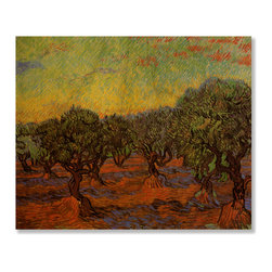 Gallery Direct - 'Olive Grove: Orange Sky' Print on Wood by Vincent Van Gogh - Own this classic print on wood. Portions of this print that are light in color will have birch wood grain showing through, creating a unique effect.