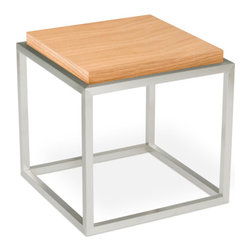 Gus Modern - Drake End Table by Gus Modern - White Lacquer - A minimalist accent table constructed with a stainless steel base and choice of wood or multi-coat lacquer finish. The Drake is designed for use as a living room or bedroom accent.