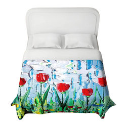 DiaNoche Designs - Stories from A Field Act xvii Duvet Cover - Lightweight and super soft brushed twill duvet cover sizes twin, queen, king. Cotton poly blend. Ties in each corner to secure insert. Blanket insert or comforter slides comfortably into Duvet cover with zipper closure to hold blanket inside. Blanket not Included. Dye Sublimation printing adheres the ink to the material for long life and durability. Printed top, khaki colored bottom. Machine washable. Product may vary slightly from image.