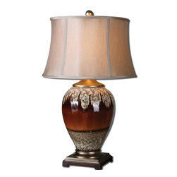 Uttermost - Alluvioni Table Lamp - Dripping with elegance! From top to bottom, this aged stone and glossy rust table lamp will make a striking statement in your favorite traditional spaces. The grand scale of this lamp makes it a good centerpiece at a large table in the foyer or den.
