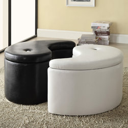 Coaster - Ying Yang Black/ White Storage Ottoman - Add harmony to your home decor with this Oriental-inspired ottoman set. Featuring a black and white ying yang design,this tufted-top ottoman includes convenient lift-top storage to help you organize your living area.