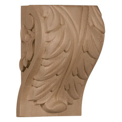 "Ekena Millwork - 4 1/2""W x 3 3/4""D x 7""H Extra Large Acanthus Leaf Block Corbel, Hard Maple - Enjoy the warmth and beauty of carved wood corbels. With the proper installation, these wood brackets can support up to 250lbs, which gives you the flexibility to use a decorative bracket for support. Available in a variety of species, these brackets ship to you fully sanded and ready for your paint or stain."