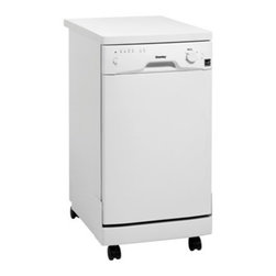"Danby - 18"" Portable Dishwasher, White - 8 Place Setting Capacity with silverware basket,  Energy Star compliant, Simple electronic controls, 6 Wash Programs, Durable stainless steel spray arm & interior, Rinse Agent Dispenser, Automatic Detergent Dispenser, Built-in Water Softening System, Castors for easy portability, Unit dimensions (17 11/16 x 26 x 36)"