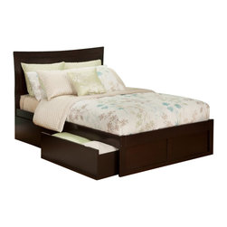 Atlantic Furniture - Atlantic Furniture Metro Bed with Drawers in Espresso-Full Size - Atlantic Furniture - Beds - AR9032111