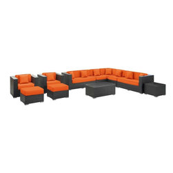 Modway - Cohesion 11 Piece Sectional Set in Espresso Orange - Preside steadfastly at each assembly as concurrent movements take you forward. The Cohesion Outdoor Sectional Set brings you to a place of carefully considered output and restorative order. Embrace a homeostatic system where precise handiwork help you attain true collectivity.