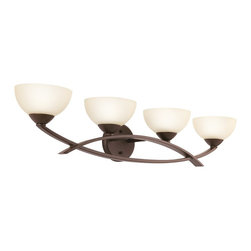 """Kichler - Olde Bronze Finish Arched 4-Light 33"""" Wide Bath Light - Overlapping arches create a visually appealing fixture for your bathroom. This distinctive bath light design looks great in a contemporary, transitional, retro, eclectic or modern setting. The Olde Bronze finish is matched with umber-etched glass for a stylish contrast. Mount it up or down and change the look, as you desire."""