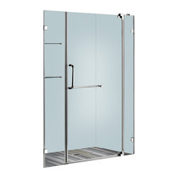 Vigo - 48in.  Frameless Shower Door 3/8in.  Clear Glass Chrome Hardware - Experience fine quality combined with superior design in a VIGO frameless shower door.