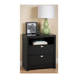 Prepac - 2-Drawer Tall Nightstand - Metal glides with built-in safety stops. Convenient open shelf. Clear lacquered real wood drawer sides. Stylish rectangular metal pulls in chrome. Sturdy MDF backer. Warranty: Five years. Made from CARB-compliant, laminated composite woods. Black finish. Made in North America. Shelf: 21.5 in. W x 14.5 in. D x 6 in. H. Drawer: 19.75 in. W x 12.5 in. D x 5 in. H. Overall: 25 in. W x 15.25 in. D x 28 in. HThe clean lines of the Series 9 Collection will enhance any modern decor. The Series 9 Tall two drawer nightstand is the ideal height for taller beds with pillow top mattresses. Not only does this nightstand add style to your bedroom but it is functional with two drawers for out-of-sight storage. The shelf adds additional storage and is the perfect spot for your favorite books and magazines.