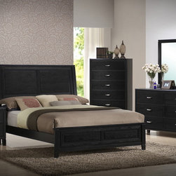 Eaton Black Wood 5-Piece Queen Modern Bedroom Set - Dramatic and elegant are words that only begin to describe the stately Belmont Collection. The rolled, woodframed, tufted black Bonded leather Headboard begins as the focal point of the offering. Fully functioning storage drawers on the Footboard feature the same antique bronzed hardware that accents each of the case pieces. A clean traditional aesthetic permeates the collection making it the obvious choice for your bedroom sanctuary.