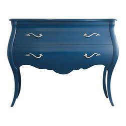 Hooker Furniture - Regatta Blue Bombe - This striking blue chest will snake its way into your bedroom. While cleverly crafted with silver serpentine pulls, a scalloped apron and bowed slim legs, it's beauty cuts deeper with wallpapered drawers. Voilà, your own Garden of Eden.
