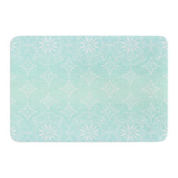 "KESS InHouse - Suzie Tremel ""Medallion Aqua Ombre"" Blue Teal Memory Foam Bath Mat (17"" x 24"") - These super absorbent bath mats will add comfort and style to your bathroom. These memory foam mats will feel like you are in a spa every time you step out of the shower. Available in two sizes, 17"" x 24"" and 24"" x 36"", with a .5"" thickness and non skid backing, these will fit every style of bathroom. Add comfort like never before in front of your vanity, sink, bathtub, shower or even laundry room. Machine wash cold, gentle cycle, tumble dry low or lay flat to dry. Printed on single side."