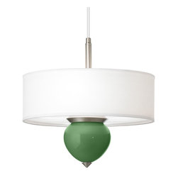 """Color Plus - Contemporary Garden Grove Cleo 16"""" Wide Pendant Chandelier - Designer Color + Plus pendant chandelier. With an exclusive Garden Grove color glass font. White fabric shade. Brushed nickel finish accents. 1/8"""" acrylic diffuser inside shade. Three maximum 60 watt or equivalent bulbs (not included).  Overall 16"""" wide 11 1/2"""" high. Shade only is 16"""" wide 5 1/2"""" high. Glass font only is 5 3/4"""" wide 6"""" high.  Fully adjustable up to 10 feet hanging height. 5"""" wide canopy.  Designer Color + Plus pendant chandelier.  With an exclusive Garden Grove color glass font.  Hand-crafted in California.  White fabric shade.  Brushed nickel finish accents.  1/8"""" acrylic diffuser inside shade.  Three maximum 60 watt or equivalent bulbs (not included).  Overall 16"""" wide 11 1/2"""" high.  Shade only is 16"""" wide 5 1/2"""" high.  Glass font only is 5 3/4"""" wide 6"""" high.   Fully adjustable up to 10 feet hanging height.  5"""" wide canopy."""