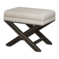 Uttermost - Uttermost 23076 Viera Sandy Small Bench in White - Shimmery, sandy white woven tailoring features Teflon fabric protector, silver nail accents-Light Bath Lighting black crackled wood frame in solid white mahogany. Matching chair is item #23081.