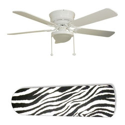 "Zebra Black and White 52"" Ceiling Fan with Lamp - This is a brand new 52-inch 5-blade ceiling fan with a dome light kit and designer blades and will be shipped in original box. It is white with a flushmount design and is adjustable for downrods if needed. This fan features 3-speed reversible airflow for energy efficiency all year long. Comes with Light kit and complete installation/assembly instructions. The blades are easy to clean using a damp-not wet cloth. The design is on one side only/opposite side is bleached oak. Made using environmentally friendly, non-toxic products. This is not a licensed product, but is made with fully licensed products. Note: Fan comes with custom blades only."