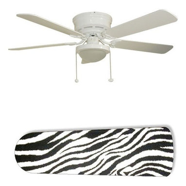 """Zebra Black and White 52"""" Ceiling Fan with Lamp - This is a brand new 52-inch 5-blade ceiling fan with a dome light kit and designer blades and will be shipped in original box. It is white with a flushmount design and is adjustable for downrods if needed. This fan features 3-speed reversible airflow for energy efficiency all year long. Comes with Light kit and complete installation/assembly instructions. The blades are easy to clean using a damp-not wet cloth. The design is on one side only/opposite side is bleached oak. Made using environmentally friendly, non-toxic products. This is not a licensed product, but is made with fully licensed products. Note: Fan comes with custom blades only."""