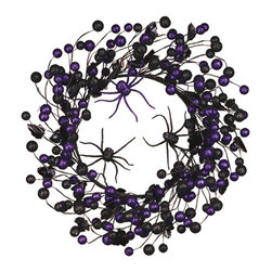 """Oddity - Oddity 18"""" Purple and Black Halloween Wreath - Spooooky! Add a little """"glitz"""" to your Halloween decor with our purple and black Spooky Spider collection."""