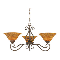"Toltec - Toltec 43-BRZ-519 Bronze Finish 3-Light Uplight Chandelier with 10"" Tiger Glass - Toltec 43-BRZ-519 Bronze Finish 3-Light Uplight Chandelier with 10"" Tiger Glass"