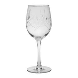 Rolf Glass - Tuscany Tulip 12oz, Set of 4 - You will love the graceful design of these unique tulip glasses. Engraved olive branches will bring peace and harmony to all every gathering.