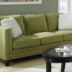 None - Emerald Carlton Green Apple Sofa - The contemporary Carlton sofa features a rich apple green color and sturdy wood legs for durability and style. Featuring a trendy chrome nailhead trim and comfortable cushions, this sofa is the perfect choice for any room decor.