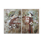 Uttermost - Birds In A Cage Canvas Art, Set of 2 - Who says a caged bird never sings? This charming set of two stretched canvas creations features a singing bird perched atop a birdcage, accented with magnolia blossoms in the background. Individually handcrafted, each piece is as unique as its owner.