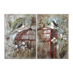 Uttermost - Birds In a Cage Canvas Art Set of 2 - Who says a caged bird never sings? This charming set of two stretched canvas creations features a singing bird perched atop a birdcage, accented with magnolia blossoms in the background. Individually handcrafted, each piece is as unique as its owner.
