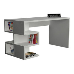 DECORTIE - AARON WORKING DESK / OFFICE TABLE, White - Effortless sophistication, the Aaron office table balances minimal design and practicality beautifully. It features a modern S shape shelf structure, perfect for storing books, files, stationery and more. A smooth wide workspace allows plenty of space for you to be productive.