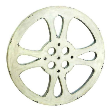 UMA - Vintage Finish Movie Reel� - A distressed finish on white gives this movie reel a warm patina full of shabby chic appeal