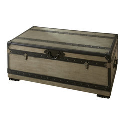 "Steve Silver - Steve Silver Rowan 44x24 Cocktail Table w/ Storage Trunk - The Rowan Collection evokes the nostalgic romance of golden-age steam travel, with classic metal fixtures and leather accents. The Rowan cedar lined trunk is a functional storage space that doubles as a cocktail table, standing 17"" high, with a 44"" x 24"" top. This attractive piece complements the Rowan end table and chest. What's included: Storage Trunk (1)."