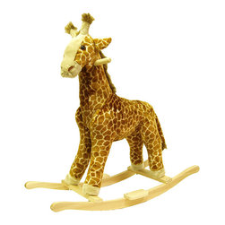 Happy Trails - Giraffe Plush Rocking Animal - Recommended Weight Limit: 80 lbs.. Seat Height: 19 in.. Ages: 2 years and up. Color: Brown. 18 in. L x 8 in. W x 30 in. H (10 lbs.)