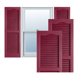 """Alpha Systems LLC - 14"""" x 25"""" Builders Choice Vinyl Open Louver Shutters,w/Screws, Berry Red - Our Builders Choice Vinyl Shutters are the perfect choice for inexpensively updating your home. With a solid wood look, wide color selection, and incomparable performance, exterior vinyl shutters are an ideal way to add beauty and charm to any home exterior. Everything is included with your vinyl shutter shipment. Color matching shutter screws and a beautiful new set of vinyl shutters."""