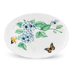 Lenox - Lenox Butterfly Meadow Platter - 16 in. - 6084289 - Shop for Plates and Dishes from Hayneedle.com! A trio of butterflies including a handsome male monarch is depicted on the generous Lenox Butterfly Meadow Platter - 16 in. In this garden scene that brings to mind beautiful butterfly meadows the butterflies pay a friendly visit to a cluster of colorful flowers. Sure to be a welcome addition to your dining room table or sideboard buffet this 16-inch platter will be a big hit with your guests. Dishwasher- and microwave-safe.
