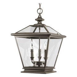 Thomasville Lighting - Thomasville Lighting Crestwood Transitional Outdoor Hanging Light X-02-3093P - Decorate any space in style with this attractive Thomasville Lighting Crestwood transitional outdoor hanging light. It features clear beveled glass panels that are framed in metal with a sleek, antique bronze finish. This magnificent piece is reminiscent of traditional gas lanterns, and is suitable in a space with a contemporary or traditional style.